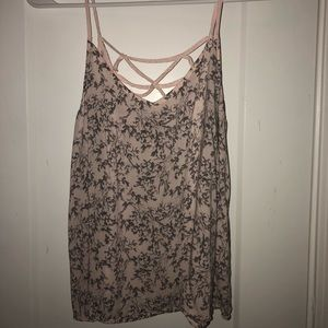 Light Pink + Gray Floral Cross Back Tank